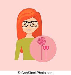 cartoon girl garden pink flower design