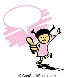 cartoon girl hand drawn vector
