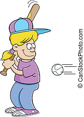 Cartoon girl hitting a baseball