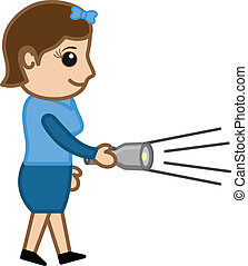Cartoon Girl Holding a Torch Vector - Lighting the Torch -...