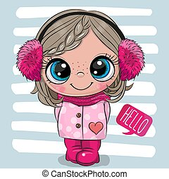 Cartoon girl in a coat and fur headphones