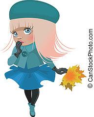 Cartoon girl in a jacket