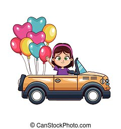 cartoon girl in a sport car with balloons, colorful design