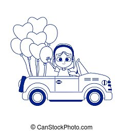 cartoon girl in a sport car with balloons