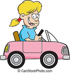Cartoon girl in a toy car - Cartoon illustration of a girl...
