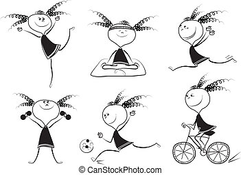 Cartoon girl in different situations. Vector black graphic on white