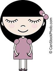 Cartoon girl in pink dress