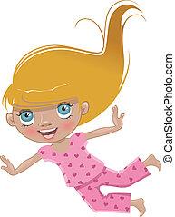 Cartoon girl in pink pajamas flies