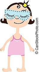 Cartoon girl in pink sleepwear with sleeping mask on eyes. Princess with crown
