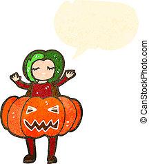 cartoon girl in pumpkin costume