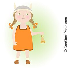 Cartoon girl in viking helmet illustrating Taurus Zodiac sign.
