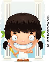 Cartoon Girl Olympian Smiling - A cartoon illustration of a...