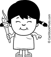 Cartoon Girl Olympic Torch