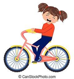 Cartoon girl on bicycle