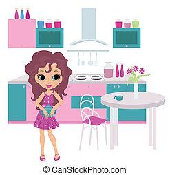 Cartoon girl on kitchen bears a tea - no gradient, color...