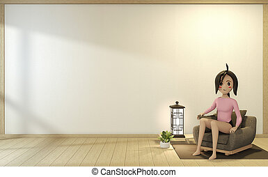 Cartoon girl on the sofa armchair with room interior japanese style. 3D rendering