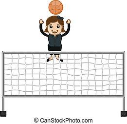 Cartoon Girl Playing Volleyball