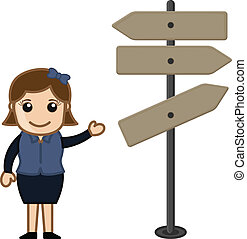 Girl Presenting Way Sign Board - Cartoon Girl Presenting Way...