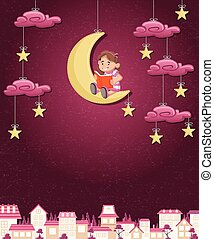Cartoon girl reading a book on the moon