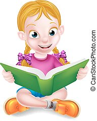 Cartoon Girl Reading Book