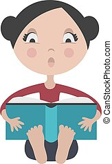 Cartoon girl reading exciting book