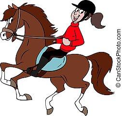 Cartoon girl riding a beautiful brown horse vector illustration