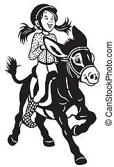 cartoon girl riding a donkey