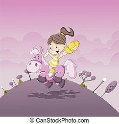 Cartoon girl riding a pony