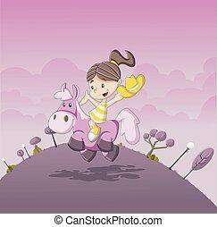 Cartoon girl riding a pony