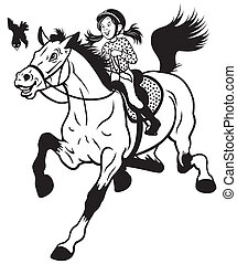 cartoon girl riding horse black and white children...