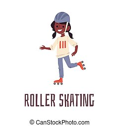 Cartoon girl roller skating in sport helmet. Cute African child riding roller blades and smiling - isolated vector illustration of happy roller blading kid.