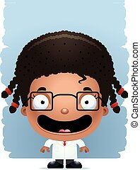 Cartoon Girl Scientist Smiling