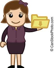 Cartoon Girl Showing Folder Icon