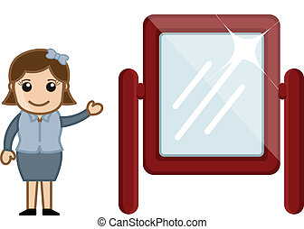 Cartoon Girl Showing Mirror