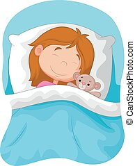 Cartoon girl sleeping with stuffed - Vector illustration of...