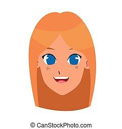 cartoon girl smiling icon