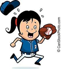 A cartoon illustration of a child playing softball.