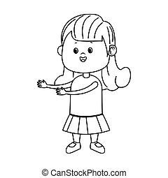 cartoon girl standing icon, flat design