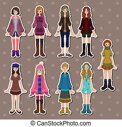 cartoon girl stickers