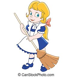 Cartoon girl sweeping floor