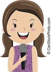 Cartoon girl talking in microphone