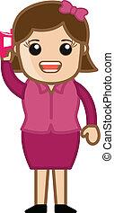 Cartoon Girl Talking on Phone