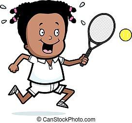 Cartoon Girl Tennis