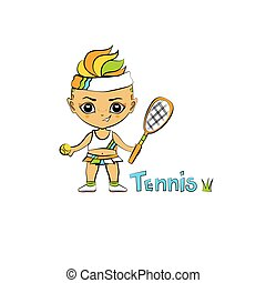 Cartoon Girl Tennis-Player
