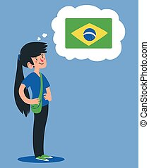 Cartoon Girl Thinking About Brazil