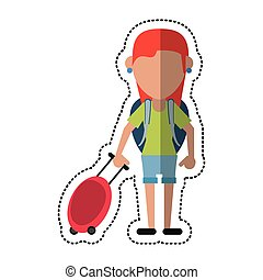 cartoon girl tourist with backpack and suitcase