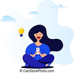 Cartoon girl uses a smartphone while sitting in a lotus position. Idea Generation Concept