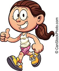 Cartoon girl walking