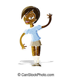 cartoon girl waving