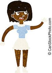 cartoon girl waving